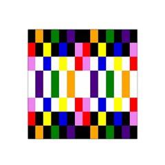 Rainbow Color Blocks Red Orange Satin Bandana Scarf
