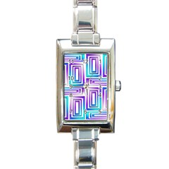 Geometric 3d Metallic Aqua Purple Rectangle Italian Charm Watch
