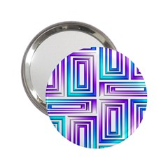 Geometric 3d Metallic Aqua Purple 2 25  Handbag Mirrors