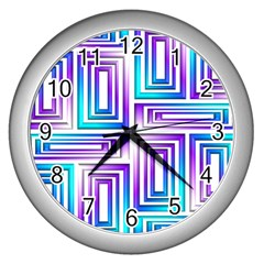 Geometric 3d Metallic Aqua Purple Wall Clocks (silver)
