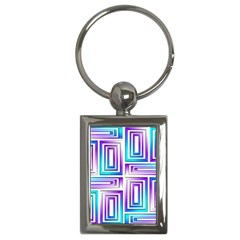 Geometric 3d Metallic Aqua Purple Key Chains (rectangle)