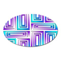 Geometric 3d Metallic Aqua Purple Oval Magnet