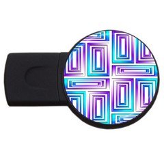 Geometric 3d Metallic Aqua Purple Usb Flash Drive Round (4 Gb)