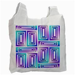 Geometric 3d Metallic Aqua Purple Recycle Bag (one Side)