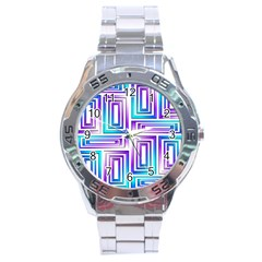 Geometric 3d Metallic Aqua Purple Stainless Steel Analogue Watch