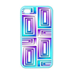 Geometric 3d Metallic Aqua Purple Apple Iphone 4 Case (color)