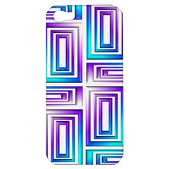 Geometric 3d Metallic Aqua Purple Apple Iphone 5 Hardshell Case