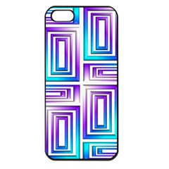 Geometric 3d Metallic Aqua Purple Apple Iphone 5 Seamless Case (black)