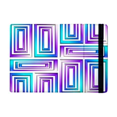 Geometric 3d Metallic Aqua Purple Apple Ipad Mini Flip Case