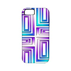 Geometric 3d Metallic Aqua Purple Apple Iphone 5 Classic Hardshell Case (pc+silicone)
