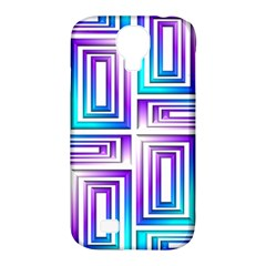 Geometric 3d Metallic Aqua Purple Samsung Galaxy S4 Classic Hardshell Case (pc+silicone)