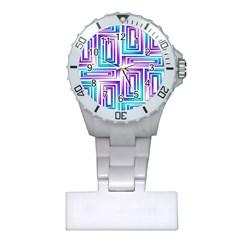 Geometric 3d Metallic Aqua Purple Plastic Nurses Watch