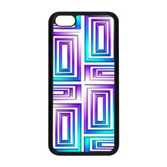 Geometric 3d Metallic Aqua Purple Apple Iphone 5c Seamless Case (black)