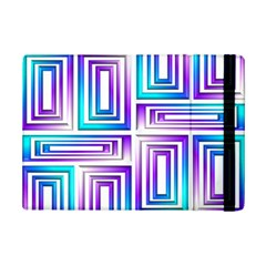 Geometric 3d Metallic Aqua Purple Ipad Mini 2 Flip Cases
