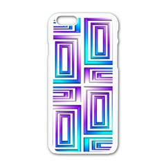 Geometric 3d Metallic Aqua Purple Apple Iphone 6/6s White Enamel Case