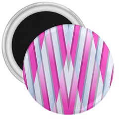 Geometric 3d Design Pattern Pink 3  Magnets