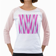 Geometric 3d Design Pattern Pink Girly Raglans