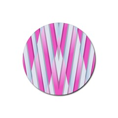 Geometric 3d Design Pattern Pink Rubber Round Coaster (4 Pack)