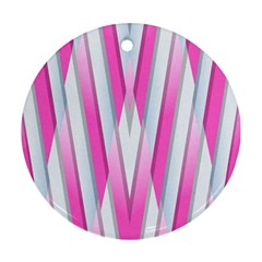 Geometric 3d Design Pattern Pink Round Ornament (two Sides) by Nexatart