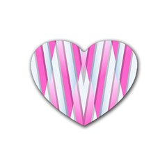 Geometric 3d Design Pattern Pink Heart Coaster (4 Pack)