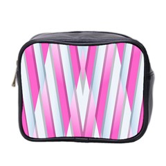 Geometric 3d Design Pattern Pink Mini Toiletries Bag 2 Side