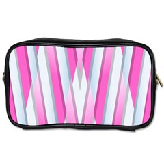 Geometric 3d Design Pattern Pink Toiletries Bags 2 Side