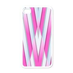 Geometric 3d Design Pattern Pink Apple Iphone 4 Case (white)