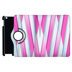 Geometric 3d Design Pattern Pink Apple Ipad 2 Flip 360 Case