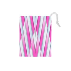 Geometric 3d Design Pattern Pink Drawstring Pouches (small)