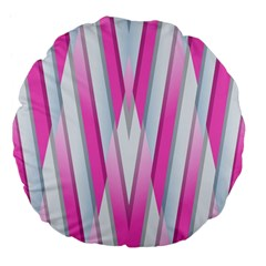 Geometric 3d Design Pattern Pink Large 18  Premium Flano Round Cushions