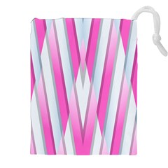 Geometric 3d Design Pattern Pink Drawstring Pouches (xxl)