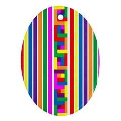 Rainbow Geometric Design Spectrum Ornament (oval)