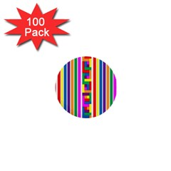Rainbow Geometric Design Spectrum 1  Mini Buttons (100 Pack)