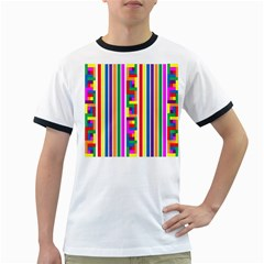 Rainbow Geometric Design Spectrum Ringer T Shirts