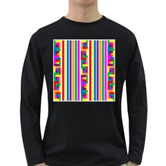 Rainbow Geometric Design Spectrum Long Sleeve Dark T Shirts