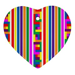 Rainbow Geometric Design Spectrum Heart Ornament (two Sides)