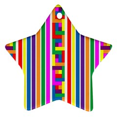 Rainbow Geometric Design Spectrum Star Ornament (two Sides)
