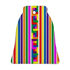 Rainbow Geometric Design Spectrum Bell Ornament (two Sides)