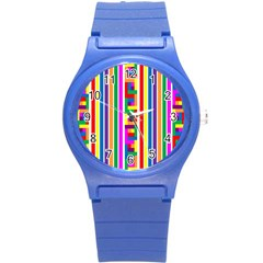 Rainbow Geometric Design Spectrum Round Plastic Sport Watch (s)
