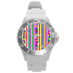 Rainbow Geometric Design Spectrum Round Plastic Sport Watch (l)