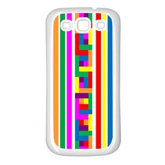 Rainbow Geometric Design Spectrum Samsung Galaxy S3 Back Case (white)