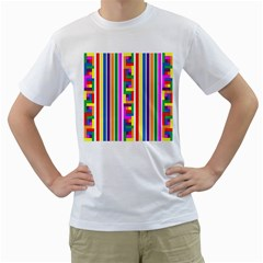 Rainbow Geometric Design Spectrum Men s T Shirt (white)