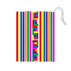 Rainbow Geometric Design Spectrum Drawstring Pouches (large)