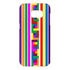 Rainbow Geometric Design Spectrum Samsung Galaxy S7 Edge Hardshell Case by Nexatart