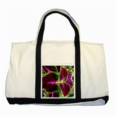 Plant Purple Green Leaves Garden Two Tone Tote Bag