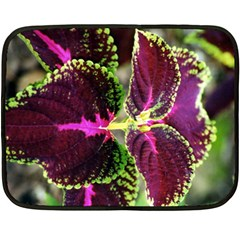 Plant Purple Green Leaves Garden Double Sided Fleece Blanket (mini)