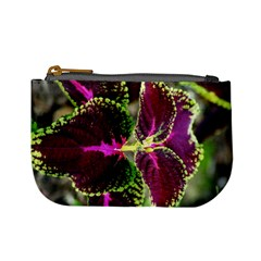 Plant Purple Green Leaves Garden Mini Coin Purses