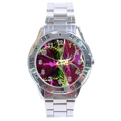 Plant Purple Green Leaves Garden Stainless Steel Analogue Watch