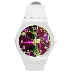 Plant Purple Green Leaves Garden Round Plastic Sport Watch (m)