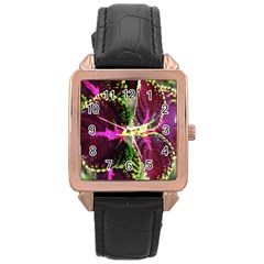 Plant Purple Green Leaves Garden Rose Gold Leather Watch
